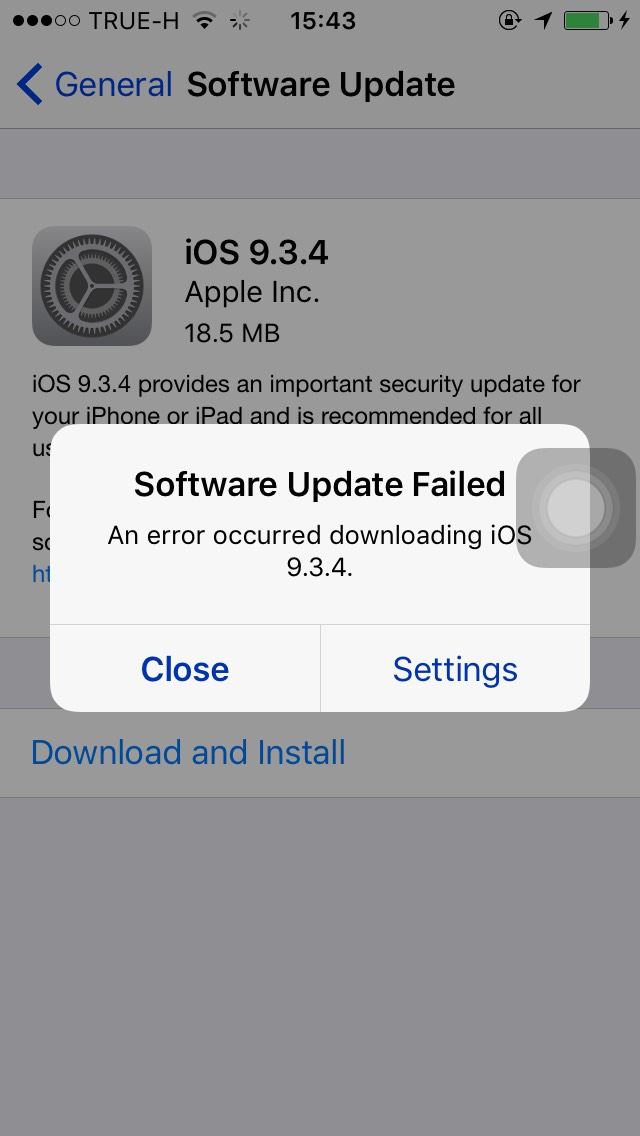 iphone 5 software update เจอป ญหา up ios 9 3 4 บน iphone 5 ข น software update failed 14594