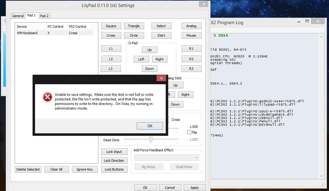 Emu PCSX2 ตั้งค่าปุ่มกดไม่ได้ ขึ้น Error รบกวนหน่อยครับ - Pantip