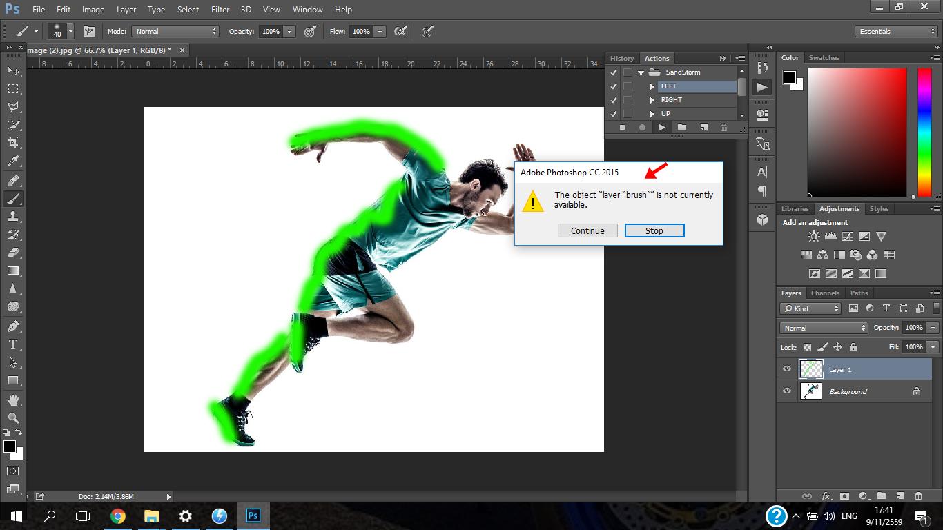 สอบถามปัญหาการใช้งาน Photoshop cc 2015 ครับ ทำใมกดใช้ ฟีเจอร์ Action