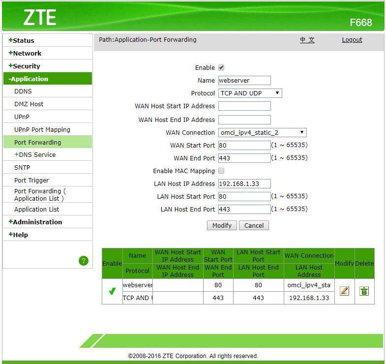 ขอทราบวิธีการ forward port ของ GPON ZTE F668 ครับผม internet true