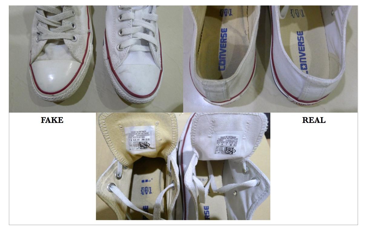 ส่วนหัวของรองเท้าจะเรียวกว่าของปลอม และสีผ้านั้นจะขาวคนละแบบกัน df28466fc