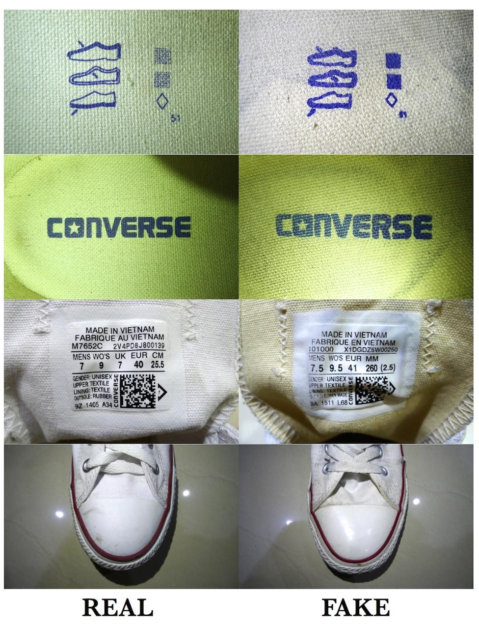ด้านรายละเอียดบนพื้นรองเท้านั้นดูได้ชัดเจน ของแท้ คำว่าConverseจะไม่ลอก  แต่ถ้าเป็นของปลอม ใส่ไปสักพักจะลอกออกเพราะการเสียดสีระหว่างใส่ 3f4e54067