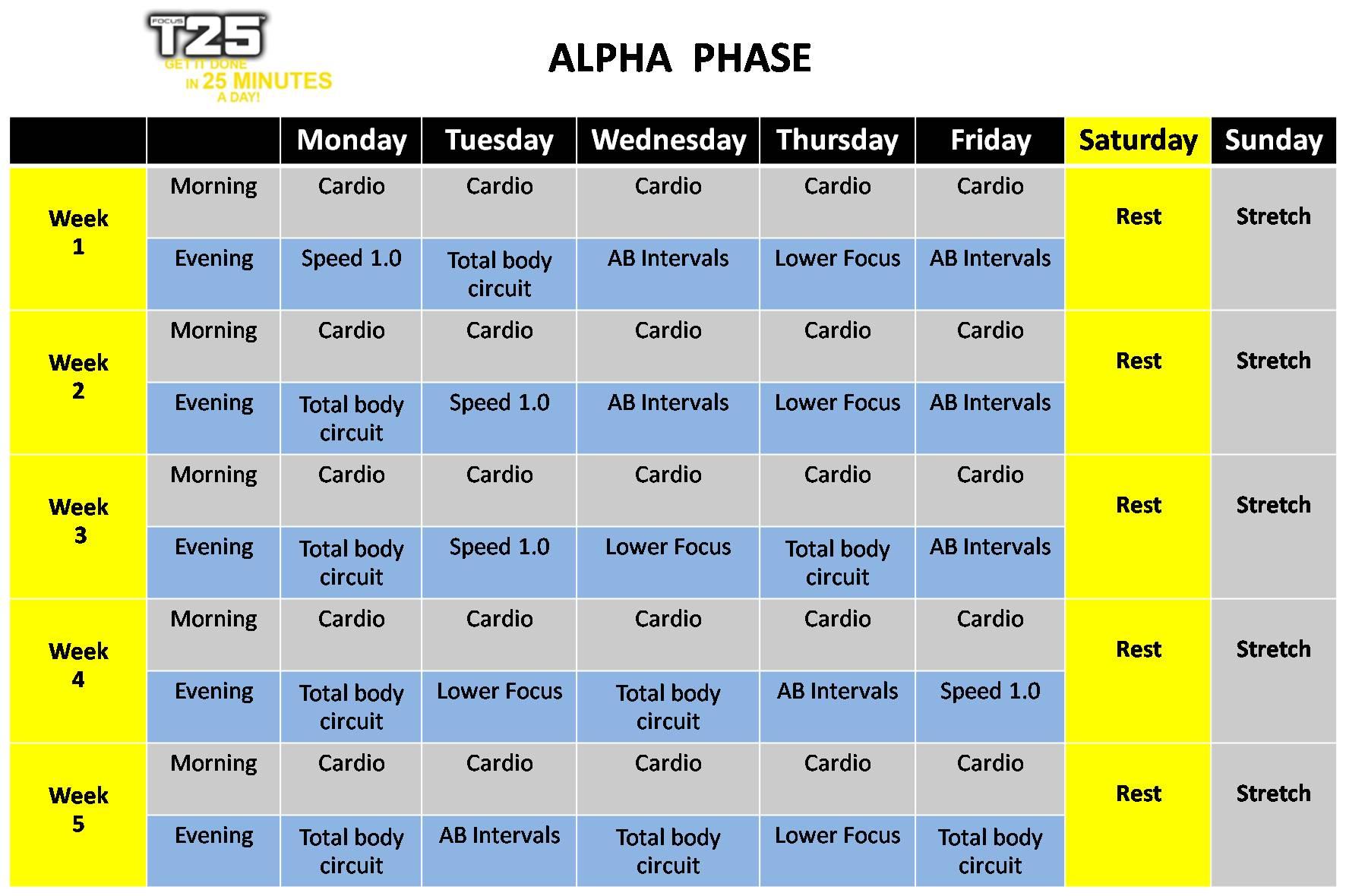 T25 Alpha Schedule จัดตาราง t25 alpha ...
