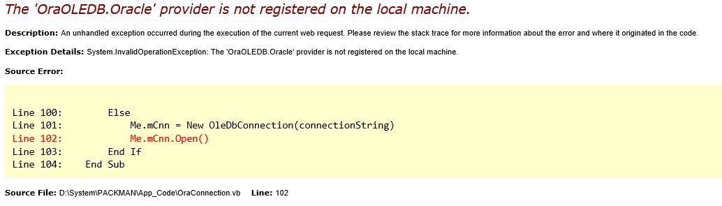 The 'OraOLEDB Oracle' provider is not registered on the local