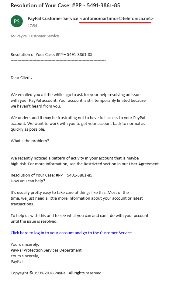 Spam mail pretend to be PayPal Customer Service - Pantip