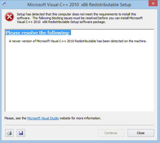 microsoft visual c++ 2010 redistributable package (x32)
