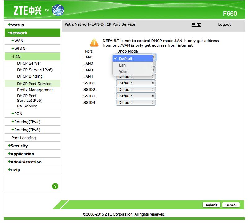 วิธี Set Up หน้า Web GUI ของ TOT - ONU ZTE F660 - Pantip