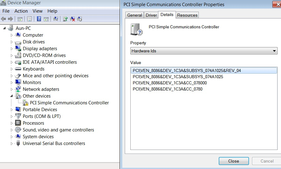 Драйвер pci-контроллер simple communications для windows 7 x64