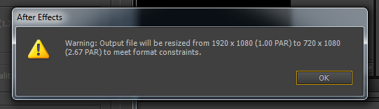 output file will be resized to meet format constraints and limitations