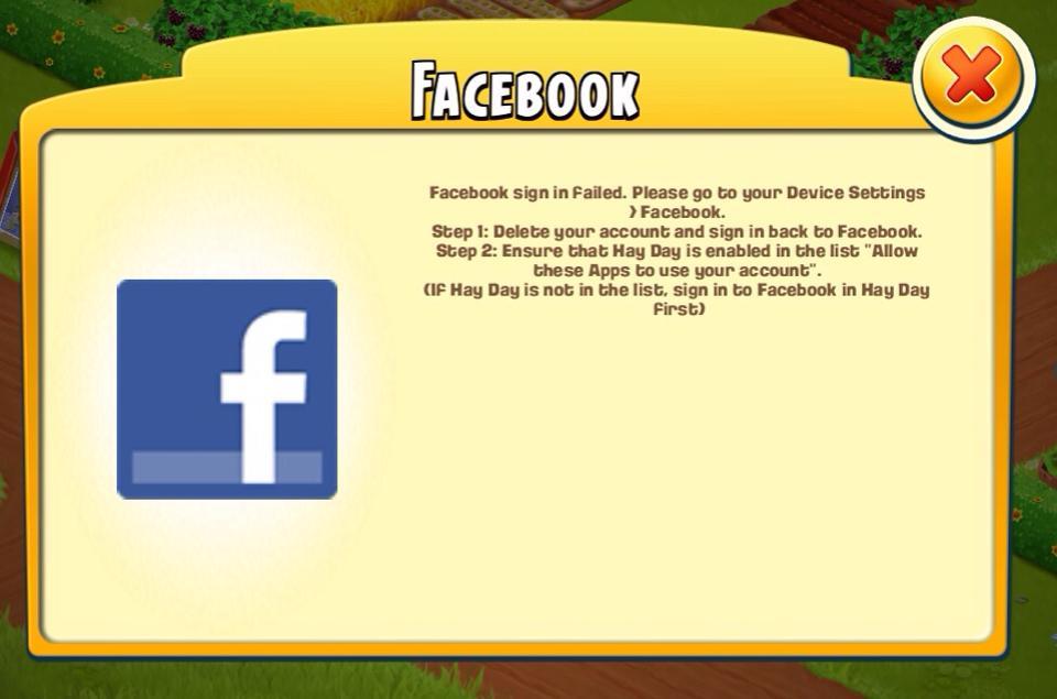 hay day login facebook failed