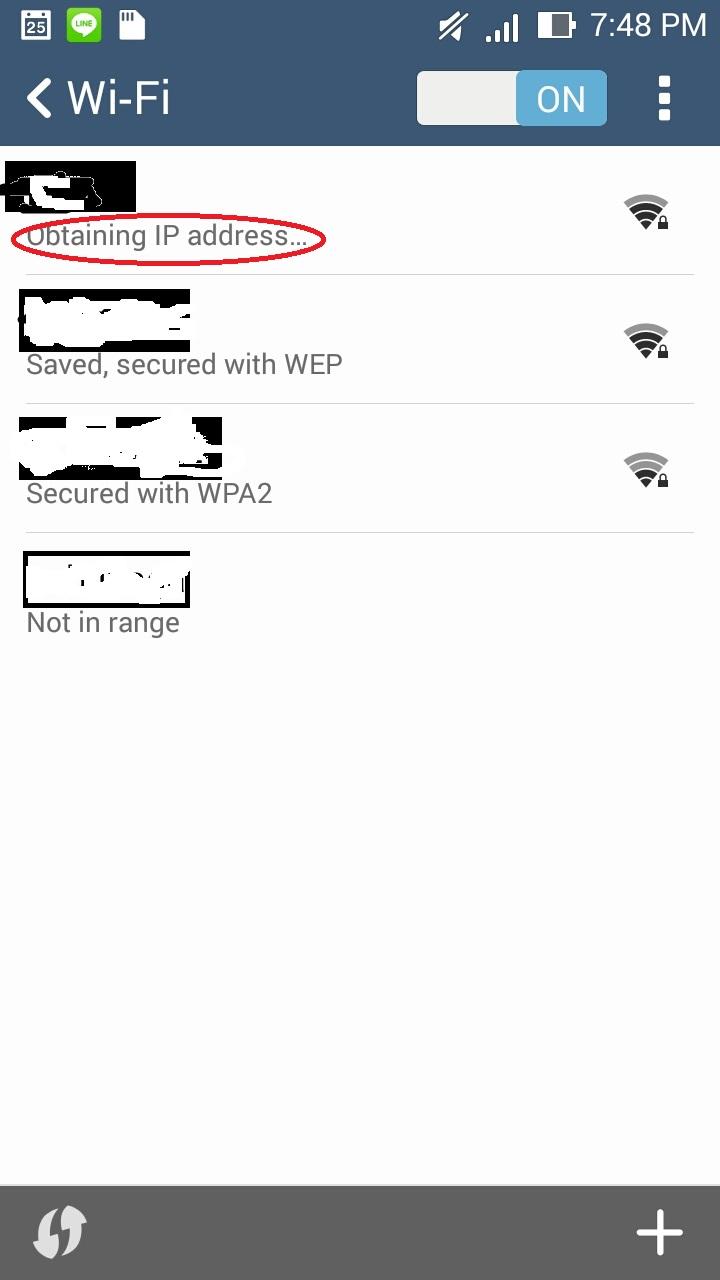 Zenfone 5 มีปัญหา wifi อย่างนี้ obtaining ip address loop