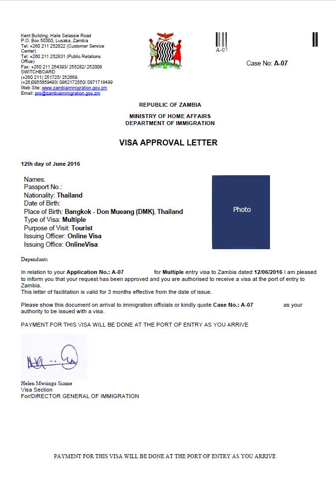Zambia E Visa Cover Letter