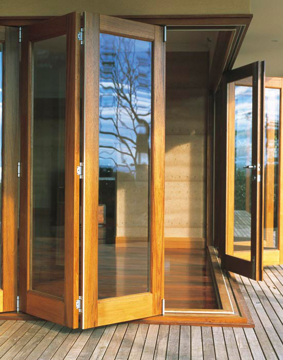 Double Opening Wooden Glass Door