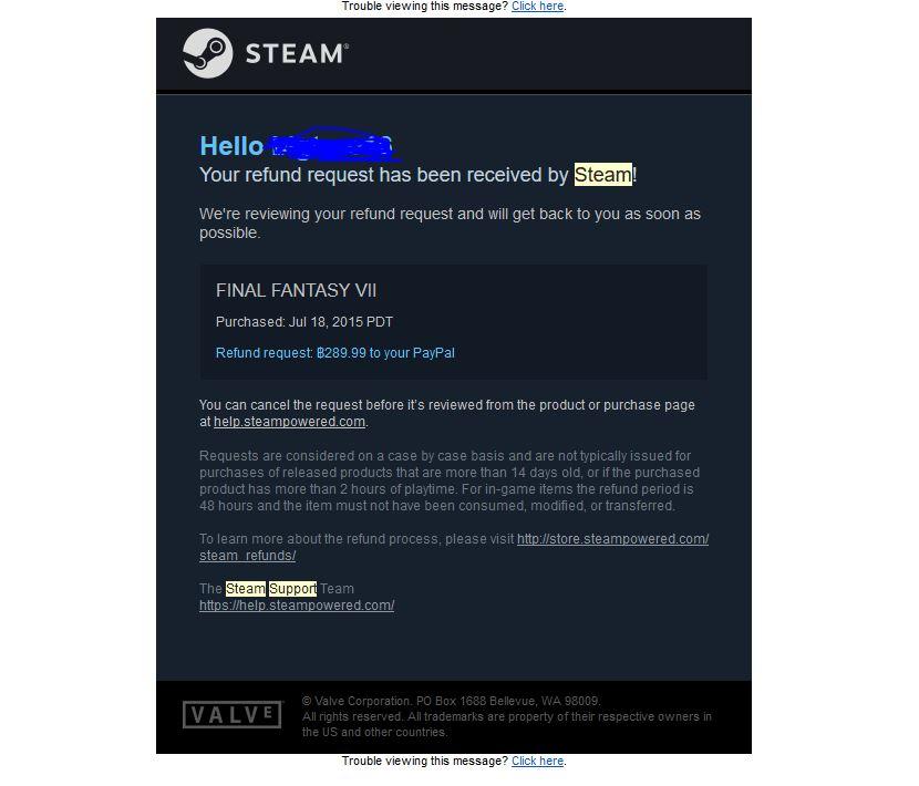 ขอ refund Steam เลือกเงินเข้า paypal มันควรจะเข้า k-bank รึ
