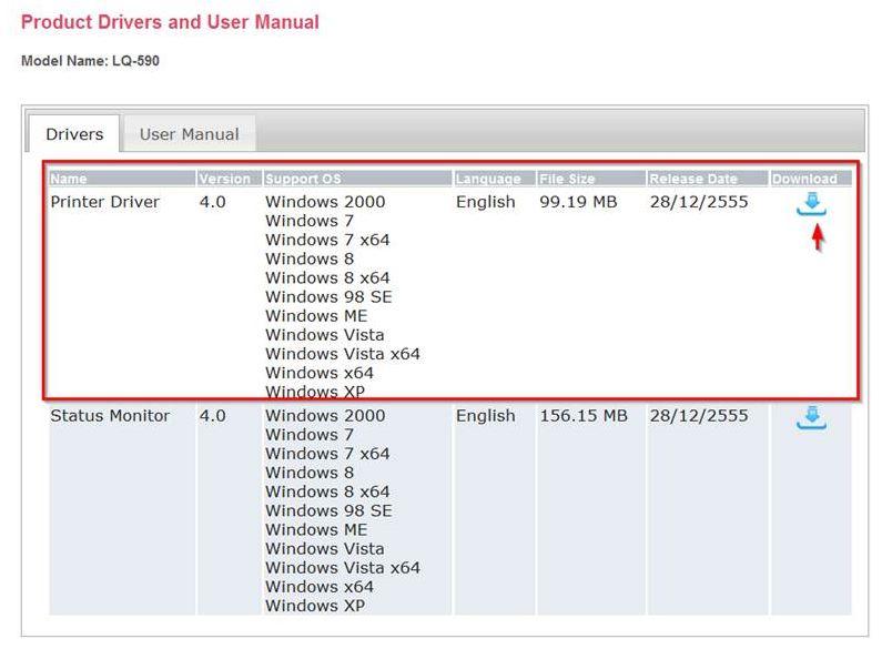 windows 7 os bundled printer driver epson lq-590