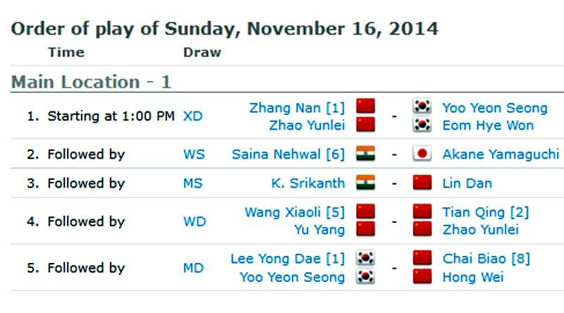 โปรแกรมการแข่งขันแบตมินตัน THAIHOT CHINA OPEN 2014 : รอบชิงชนะเลิศ