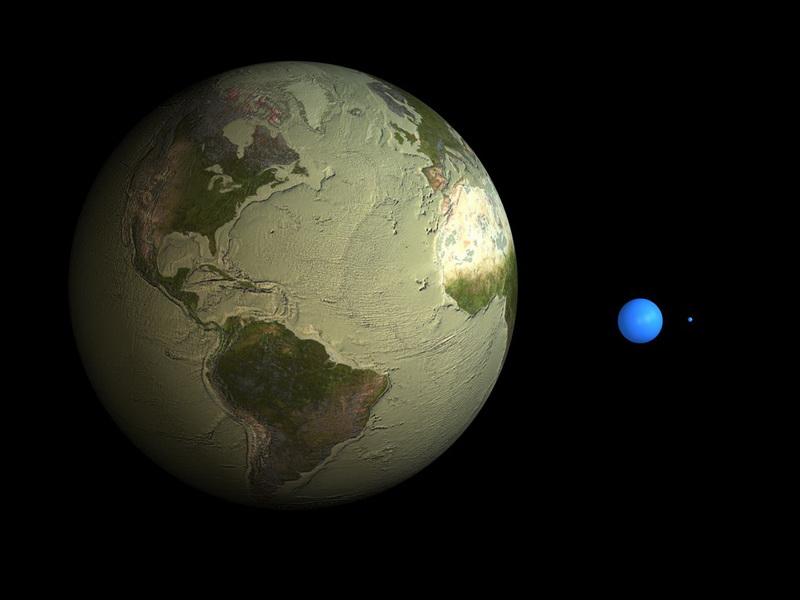 โลกสีจืดๆ คือรูปร่างของโลกที่สูบเอาน้ำออกจนหมด - ลูกกลมสีฟ้าใหญ่ คือปริมาณน้ำเค็ม ทั้งหมดในโลกนี้ - ลูกกลมสีฟ้าจิ๋วๆ คือปริมาณน้ำจืด ครับ