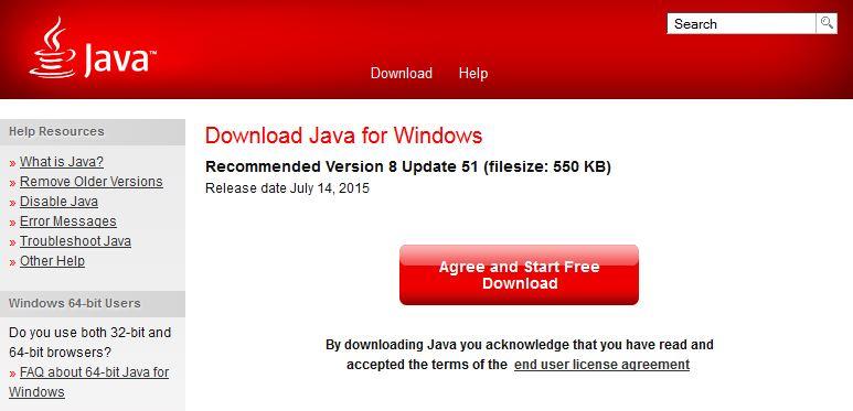 Java 8u51 64 Bit Windows 7