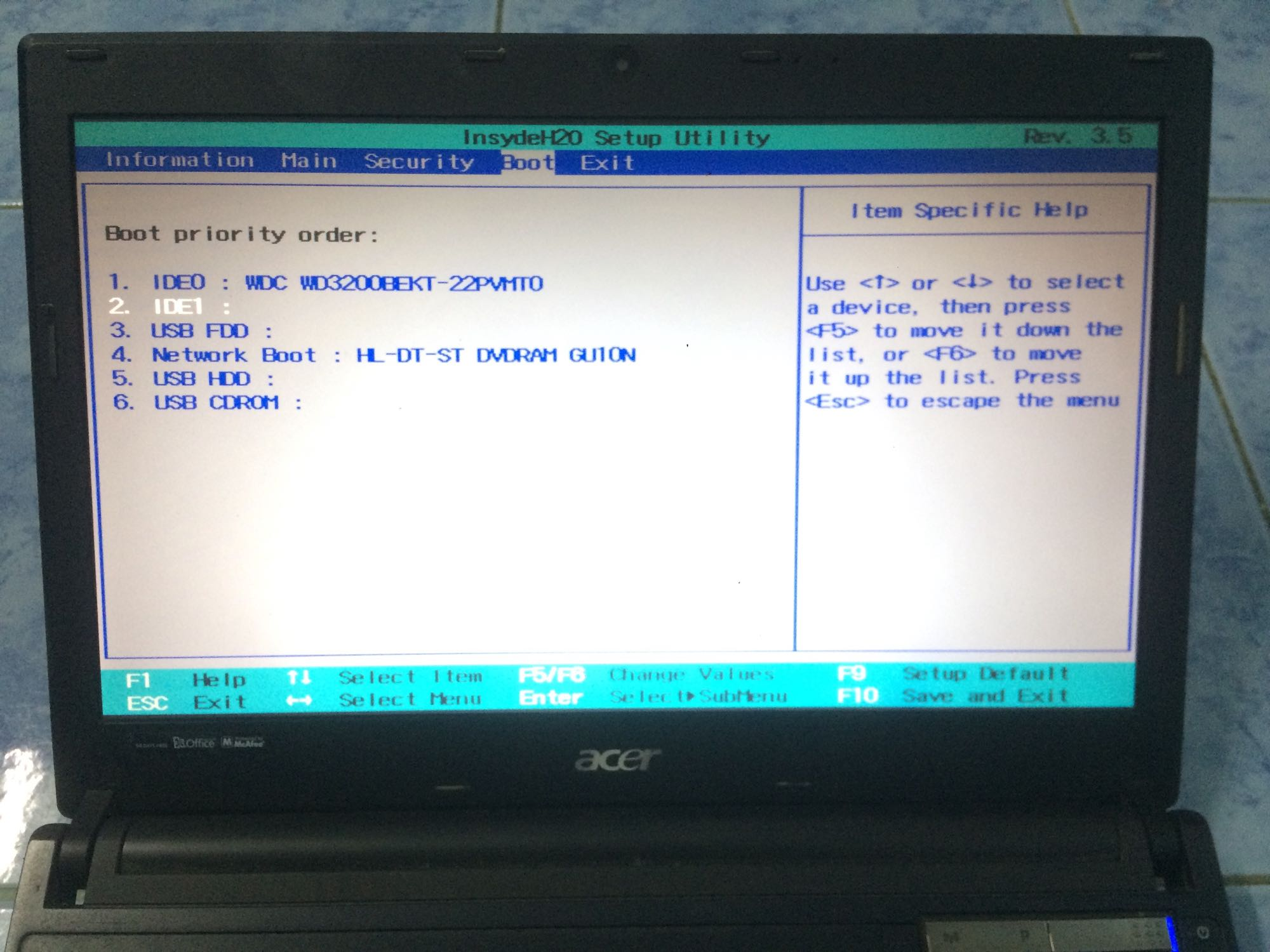 Notebook acer ขึ้น No bootable device insert boot disk and press any