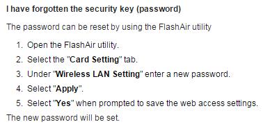 สอบถามวิธี Reset / Change password ของ SD Card Wifi Toshiba