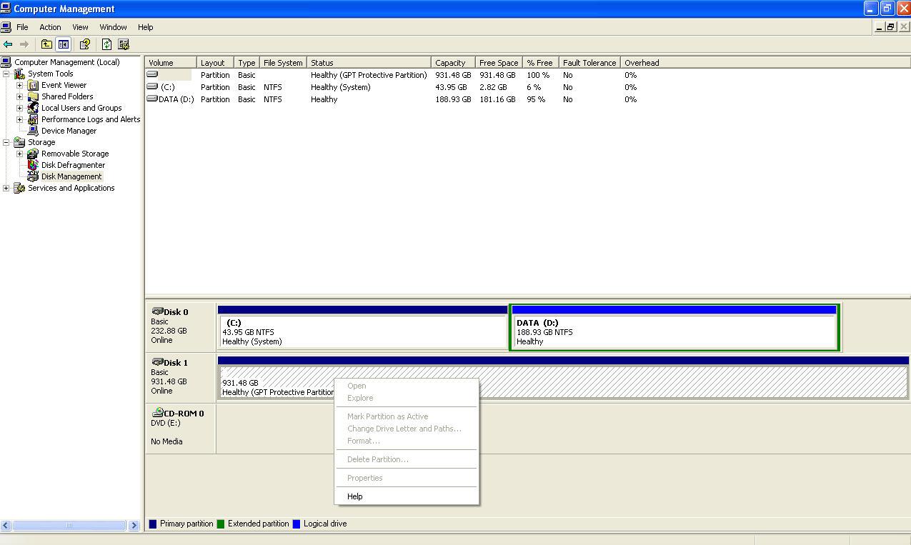 external harddisk ใหม่ (WD 1 tb) มองไม่เห็น drive ทำยังไงดี