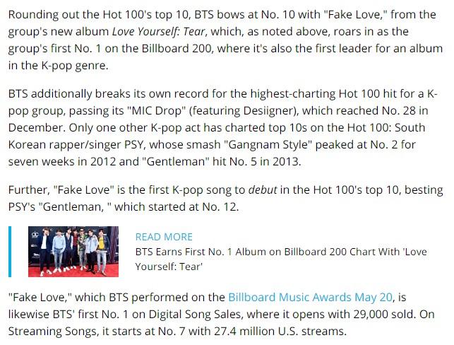KPOP] #BTS ส่งเพลง 'FAKE LOVE' ขึ้นสู่อันดับ 10 ชาร์ต