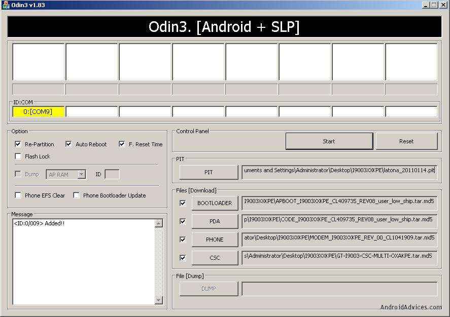 Samsung galaxy s i9003 firmware 2. 2 1 download odin orrefi.