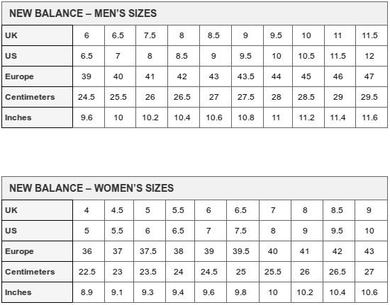 new balance size chart usa