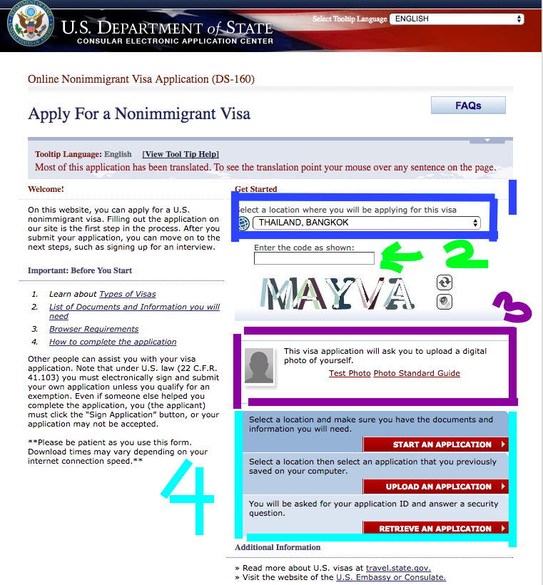 DS160 Application online for USA VISA        การสมัครวีซ่า