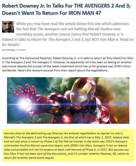 ในขณะนี้ป๋า Robert Downey Jr. กำลังอยู่ในการเจรจารับบท TONY STARK ในเรื่อง  THE AVENGERS 2 และ THE AVENGERS 3 อยู่นะครับแต่กลับไม่มีเรื่อง ironman 4  หรือหนัง ...