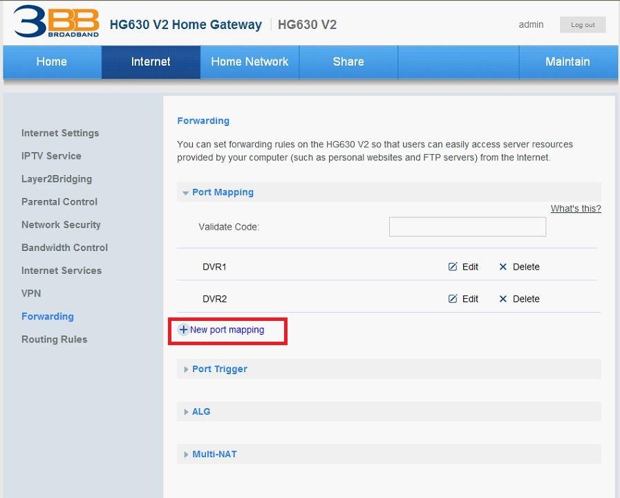 การ forward port router ของ 3BB รุ่น HG630 V2