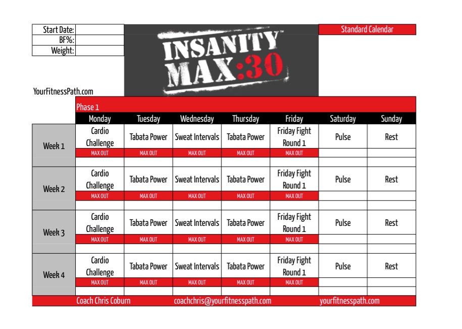 Insanity Workout Printable Calendar | Calendar Template 2016