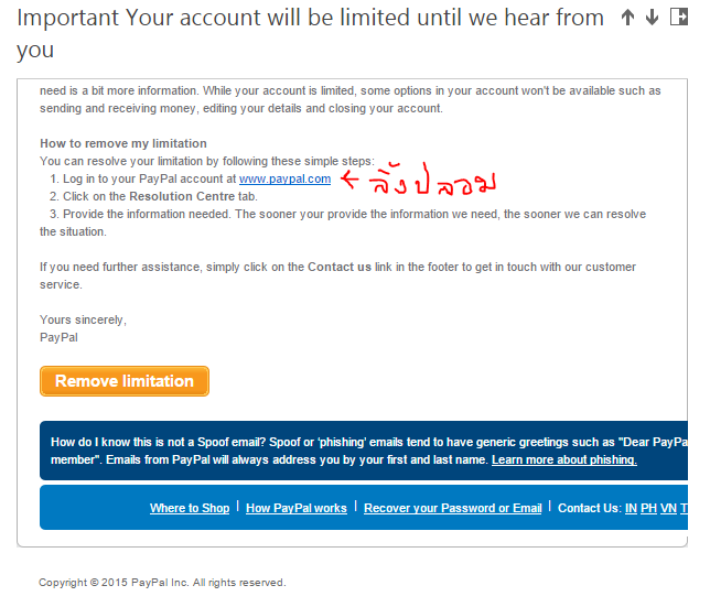 your account has been limited until we hear from you