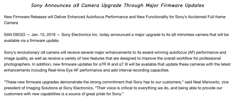รู้สึกดีที่ Sony เริ่มจะเลียนแบบ Fuji แล้วกับการส่ง fw update เพื่อ